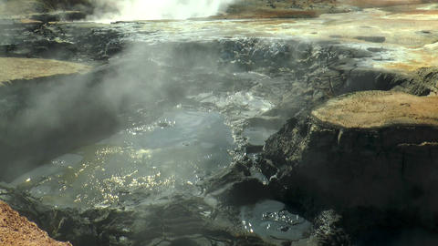 field of mud pools and fumaroles at hverir in icel Footage