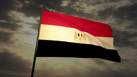 Flag Egypt 03 Stock Video Footage