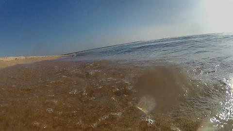 Ocean waves on tropical sand beach, moving camera Stock Video Footage