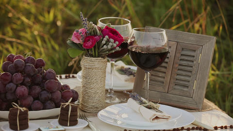 Wedding table decor setting timelapse Stock Video Footage