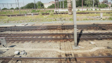 European railroads view from moving train Stock Video Footage