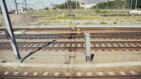 European railroads view from moving train Footage
