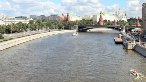 Moscow River and Kremlin Embankment Stock Video Footage