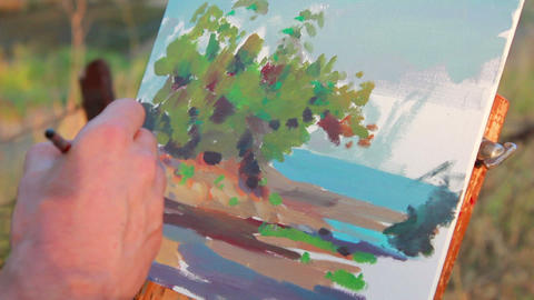 Artist Paints A Picture 2 stock footage