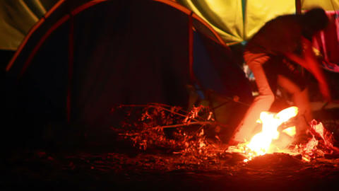 Boy And Fire 1 stock footage
