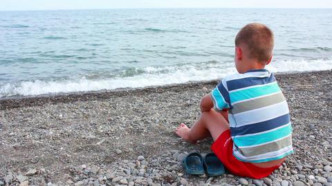 Boy on Beach 2 Stock Video Footage