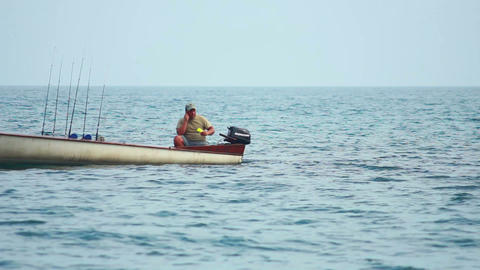 Fisherman on Boat 1 Stock Video Footage
