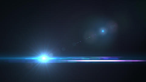 Lens Flares crossing Sea Blue vertical Animation