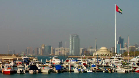 A harbor in Abu Dhabi in the United Arab Emirates  Footage