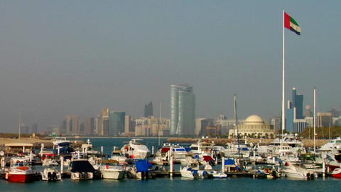 A harbor in Abu Dhabi in the United Arab Emirates Stock Video Footage