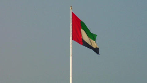The flag of the United Arab Emirates waves in the Stock Video Footage