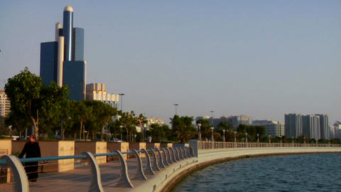 The beautiful skyline of Abu Dhabi in the United A Stock Video Footage