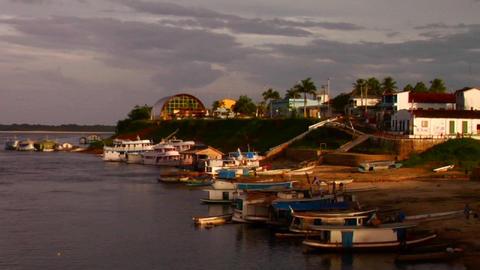 A shoreline along the Amazon River near a village Stock Video Footage