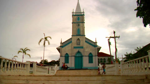 Tilt up to a small church in the Amazon region Footage
