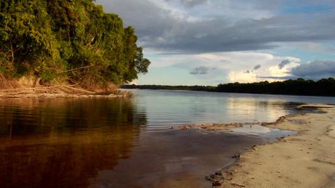 Sunset over the beautiful Amazon River basin, Braz Footage