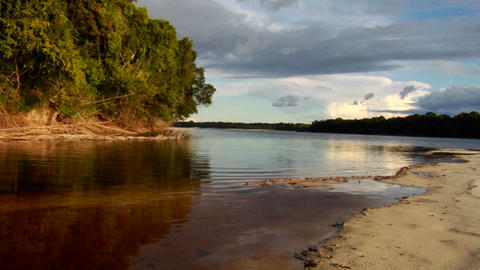 Sunset over the beautiful Amazon River basin, Braz Stock Video Footage