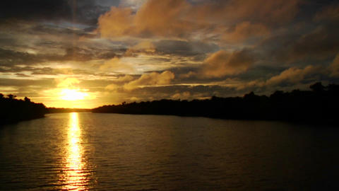A magnificent sunset along the Amazon River in Bra Footage