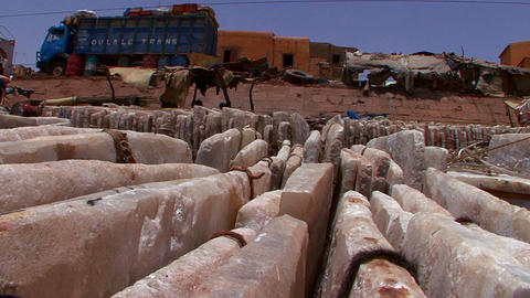 Stone goods are bundled and shipped in Mali, Afric Footage