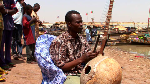 A man plays a beautiful stringed instrument in Mal Footage