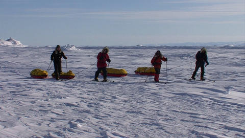 An Arctic expedition moves across frozen tundra on Footage