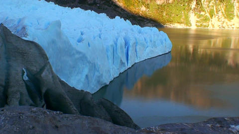 A blue glacier from the side Footage