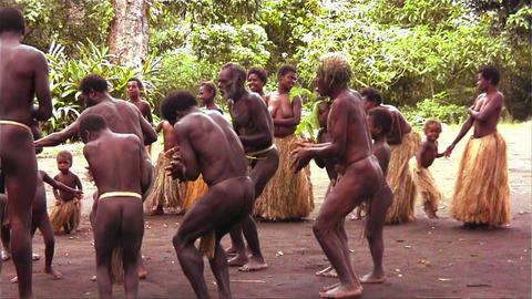 New Guinea natives do a traditional dance in the j Stock Video Footage