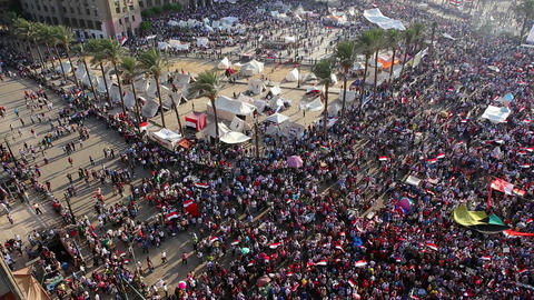 Crowds gather in Cairo, Egypt Footage