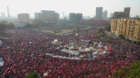 Crowds in Tahrir Square in Cairo, Egypt Footage