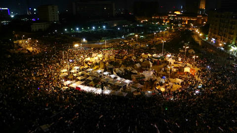 Overhead view of demonstrators in Tahrir Square in Stock Video Footage