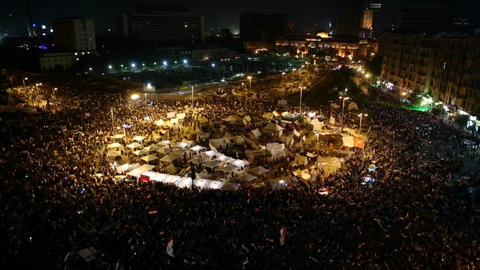 Demonstrations go on into the night in Cairo, Egyp Stock Video Footage