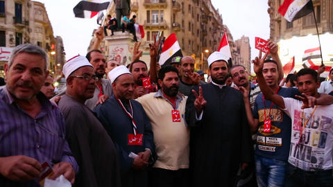 Protestors in Tahrir Square in Cairo, Egypt Stock Video Footage
