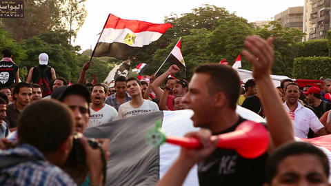 Protestors march in Cairo, Egypt Stock Video Footage