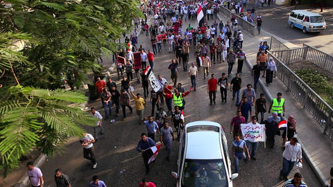 A large protest march in Cairo, Egypt Stock Video Footage