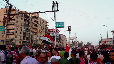Protestors jam the streets in Cairo, Egypt Stock Video Footage