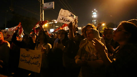 Protestors chant in Tahrir Square in Cairo, Egypt Stock Video Footage