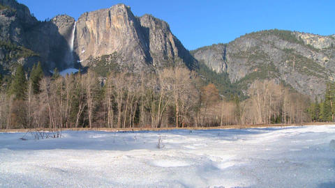 Yosemite valley and national park in snow Stock Video Footage