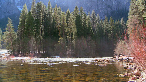 The Merced River flows through Yosemite National P Stock Video Footage