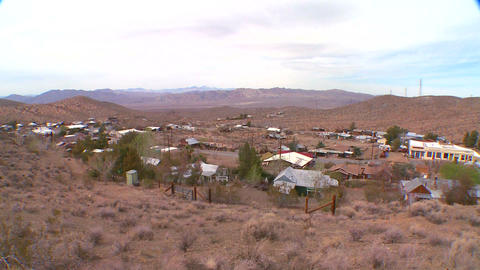 Overview of a Nevada desert town Stock Video Footage