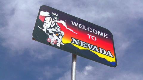 A sign welcomes visitors to Nevada Footage