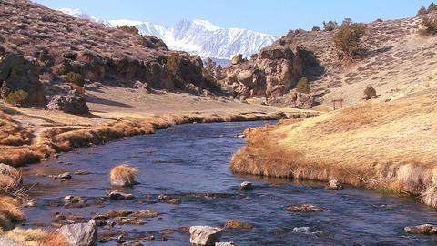 A beautiful river runs through the Sierra Nevada m Stock Video Footage