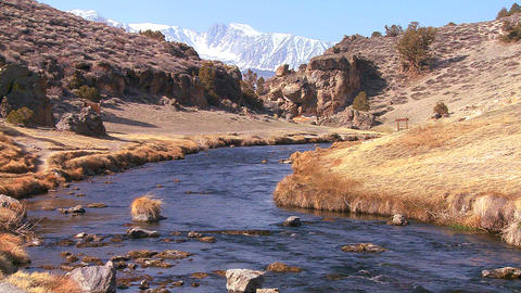 A beautiful river runs through the Sierra Nevada m Footage