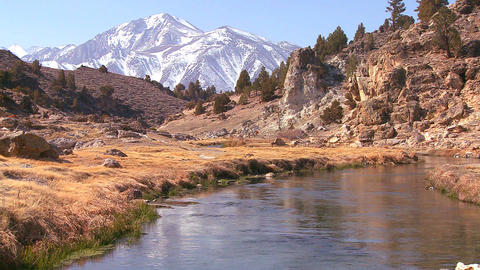 A beautiful river runs through the Sierra Nevada m Stock Video Footage
