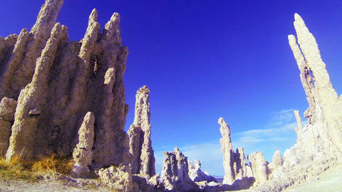 A traveling shot beneath the tufa spires of Mono L Stock Video Footage
