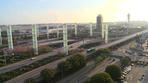 Establishing shot of Los Angeles International air Stock Video Footage