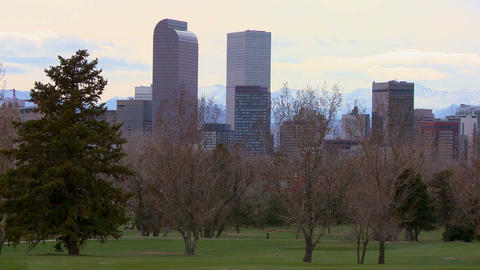 The Denver Colorado skyline in beautiful light wit Footage