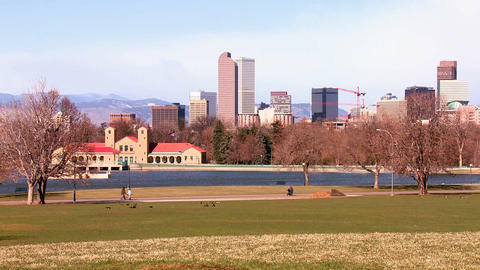 The Denver Colorado skyline in beautiful light Stock Video Footage