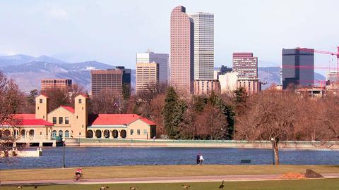 The Denver Colorado skyline in beautiful light wit Stock Video Footage