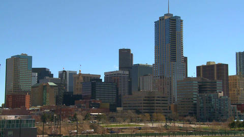 The skyline of Denver Colorado skyline ion a sunny Stock Video Footage