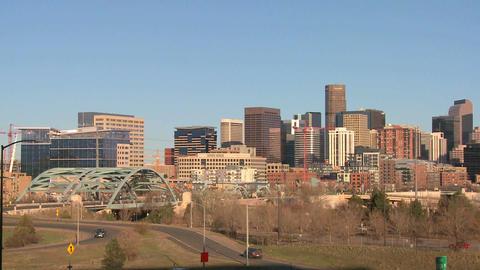 The skyline of Denver Colorado skyline on a sunny Stock Video Footage