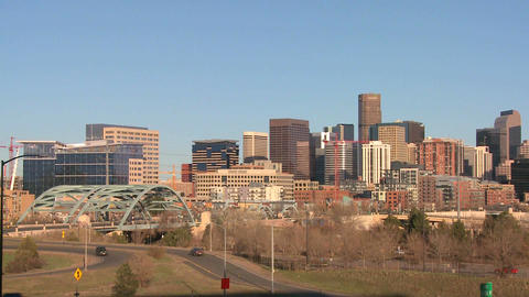 The skyline of Denver Colorado skyline on a sunny Stock Video Footage